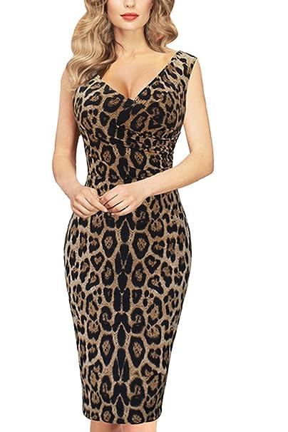 7dba278b09 Vosujotis Women Bodycon Dress Leopard Print Sleeveless V Neck Midi Party  Dresses  Amazon.co.uk  Clothing