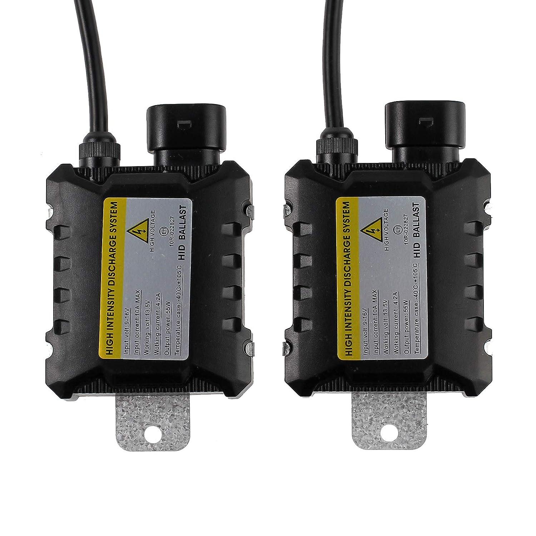 AUTOUTLET 2PCS Digital 55W Slim HID Xenon Ballast Light Conversion Kit Universal for H7, H9, H11, 9004, 9005, 9006, D2S, D2C, D2R, H4-3