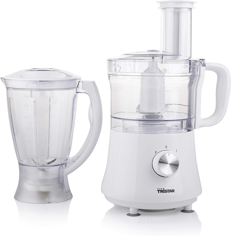 Tristar MX-4168 Robot de cocina con picadora de alimentos, capacidad 1,5 l, 500 W, 1.5 litros, De plástico, 3 Velocidades, Blanco