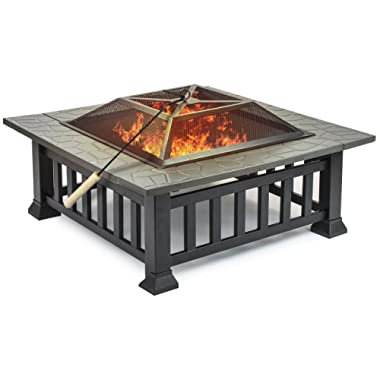Sorbus Fire Pit Square Table with Screen Cover, Log Grate, Poker Tool, Great BBQ Grill for Outdoor Patio, Backyard, Garden, Camping, Picnic, Bonfire, Attractive Stone Slate (Fire Pit Square Table)