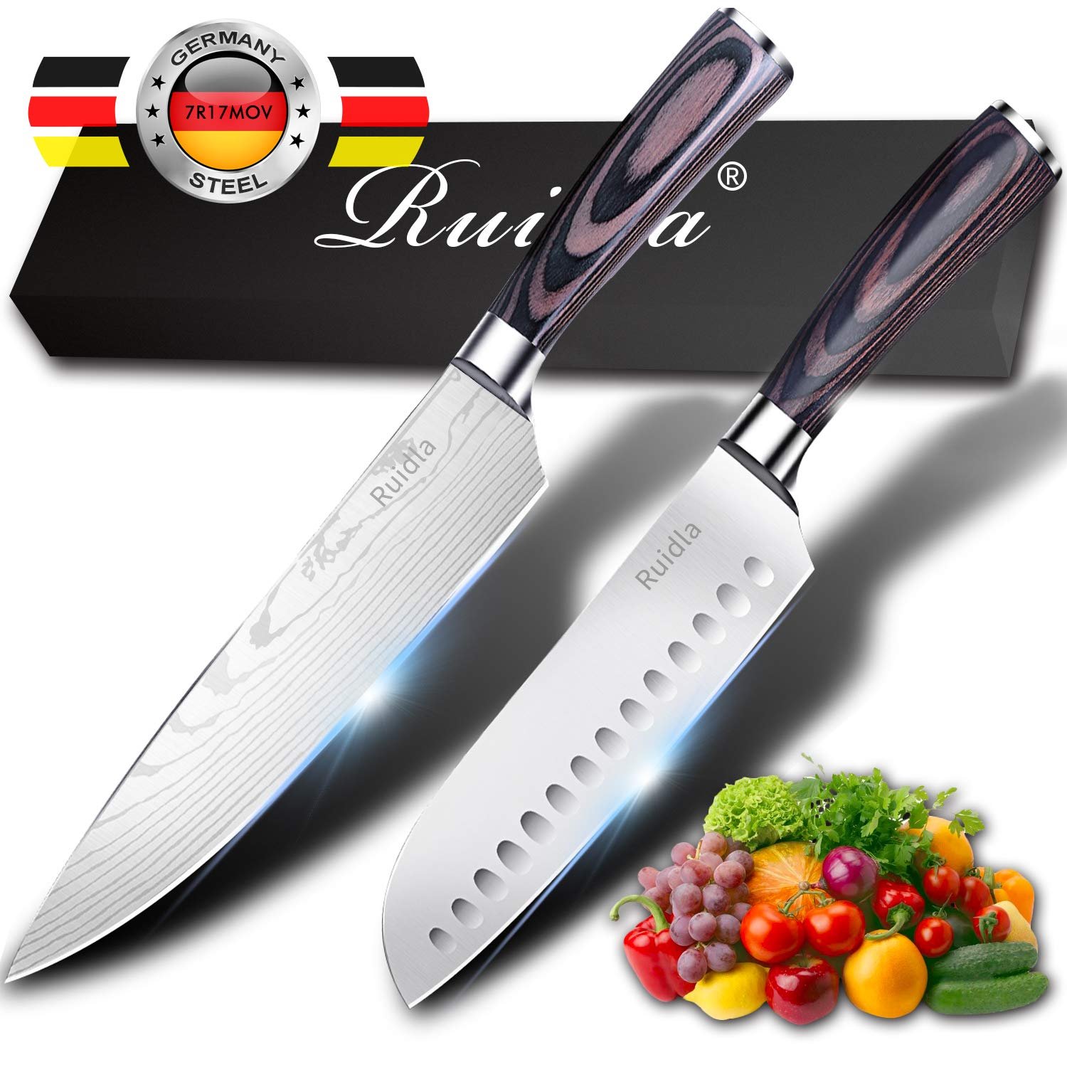Kitchen Knife Ruidla 2 Piece Sharp Chef Knife, 8 inch Chef Knife, 7 inch Gyutou Knives, German Stainless Steel Cooking Knife with Ergonomic Handle for Home Kitchen Restaurant by Ruidla
