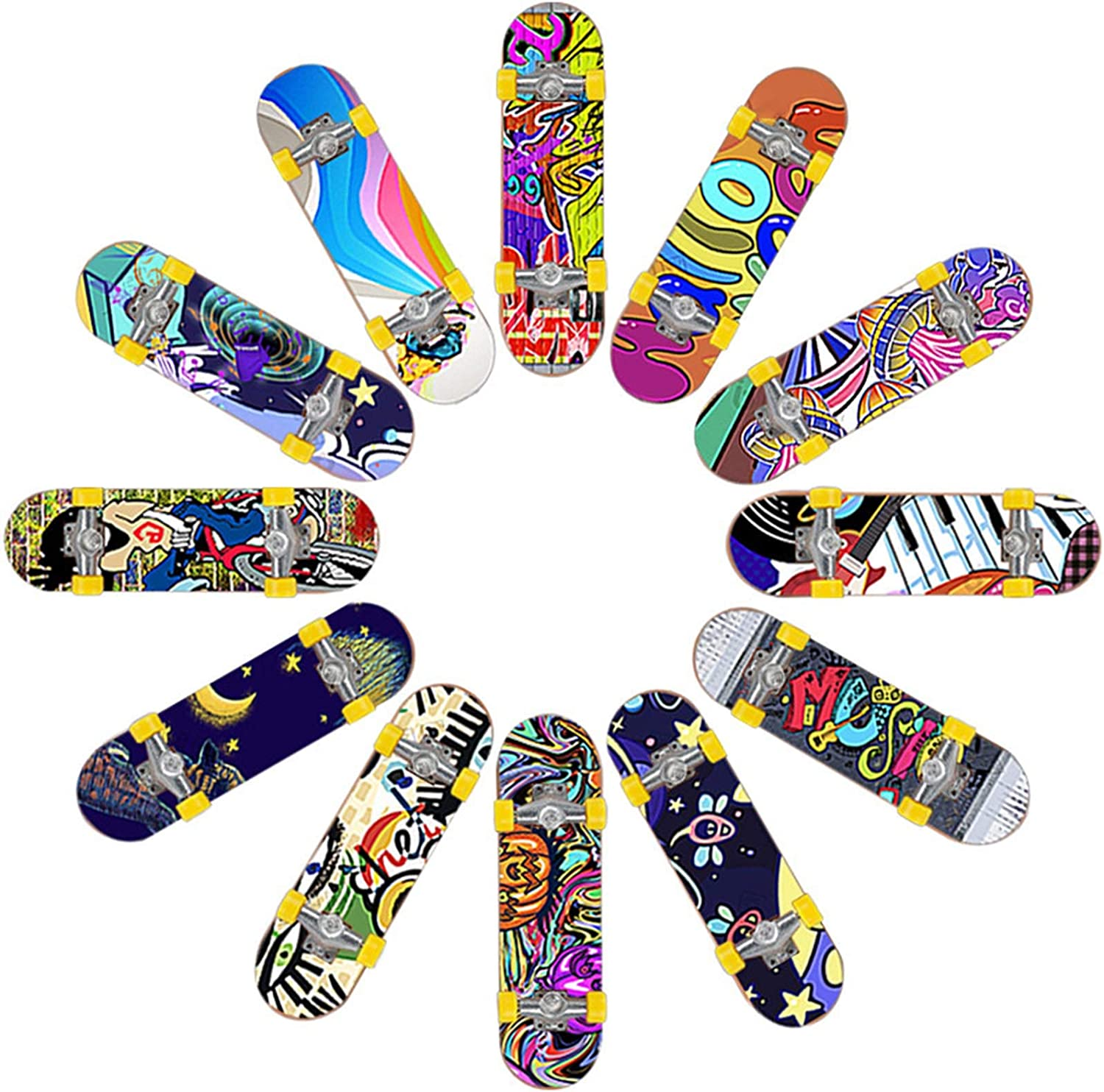 Mini Finger Skateboard Finger Bicycle Swing Boards and Multiple Scenes Ramp Set with 9 Pcs Replaceable Accessories Gifts Party Favors for Kids Children Fingertoys Skate Park Kit