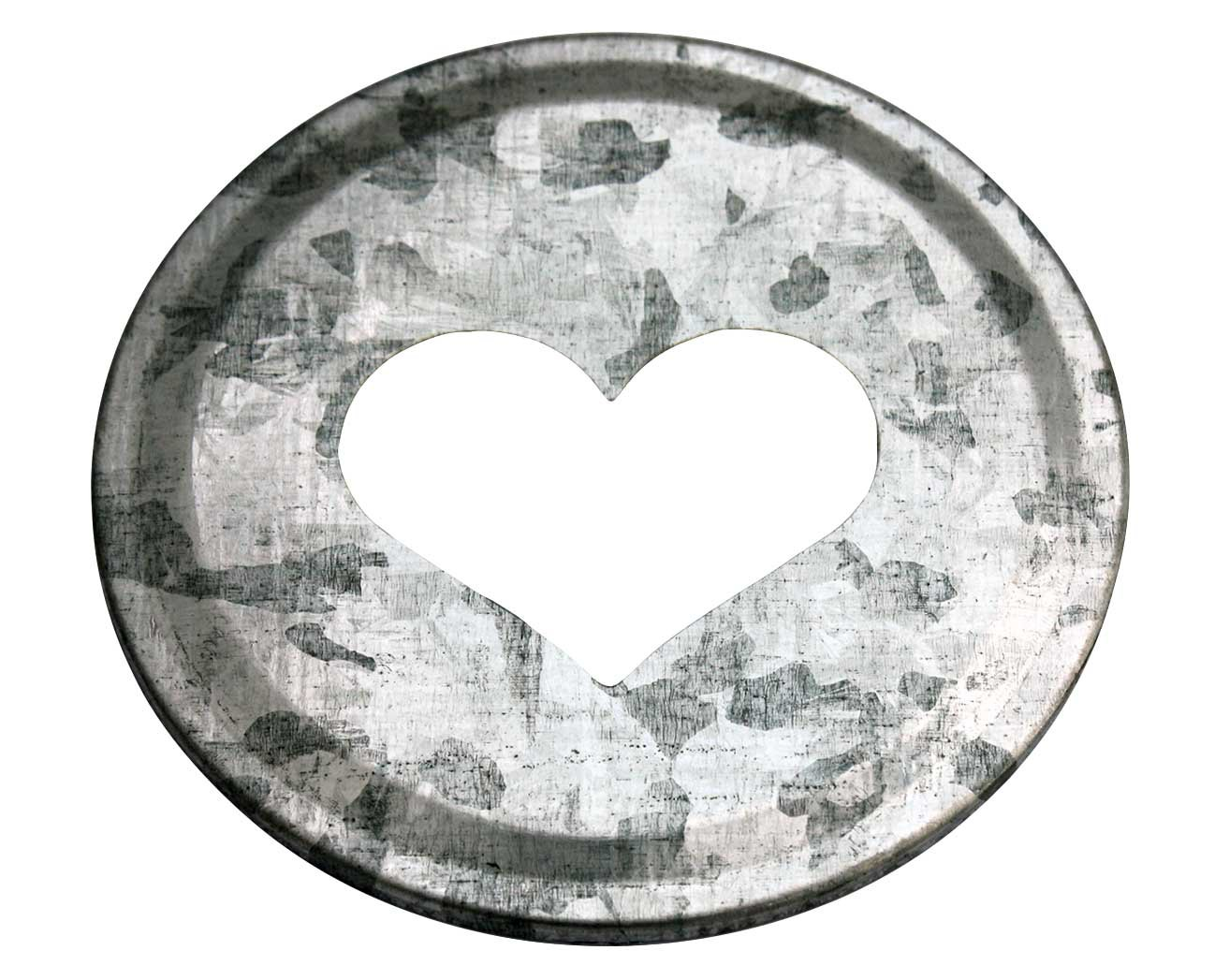 Heart Cutout Galvanized Metal Lid Inserts for Mason Jars (10 Pack, Regular Mouth) Mason Jar Lifestyle
