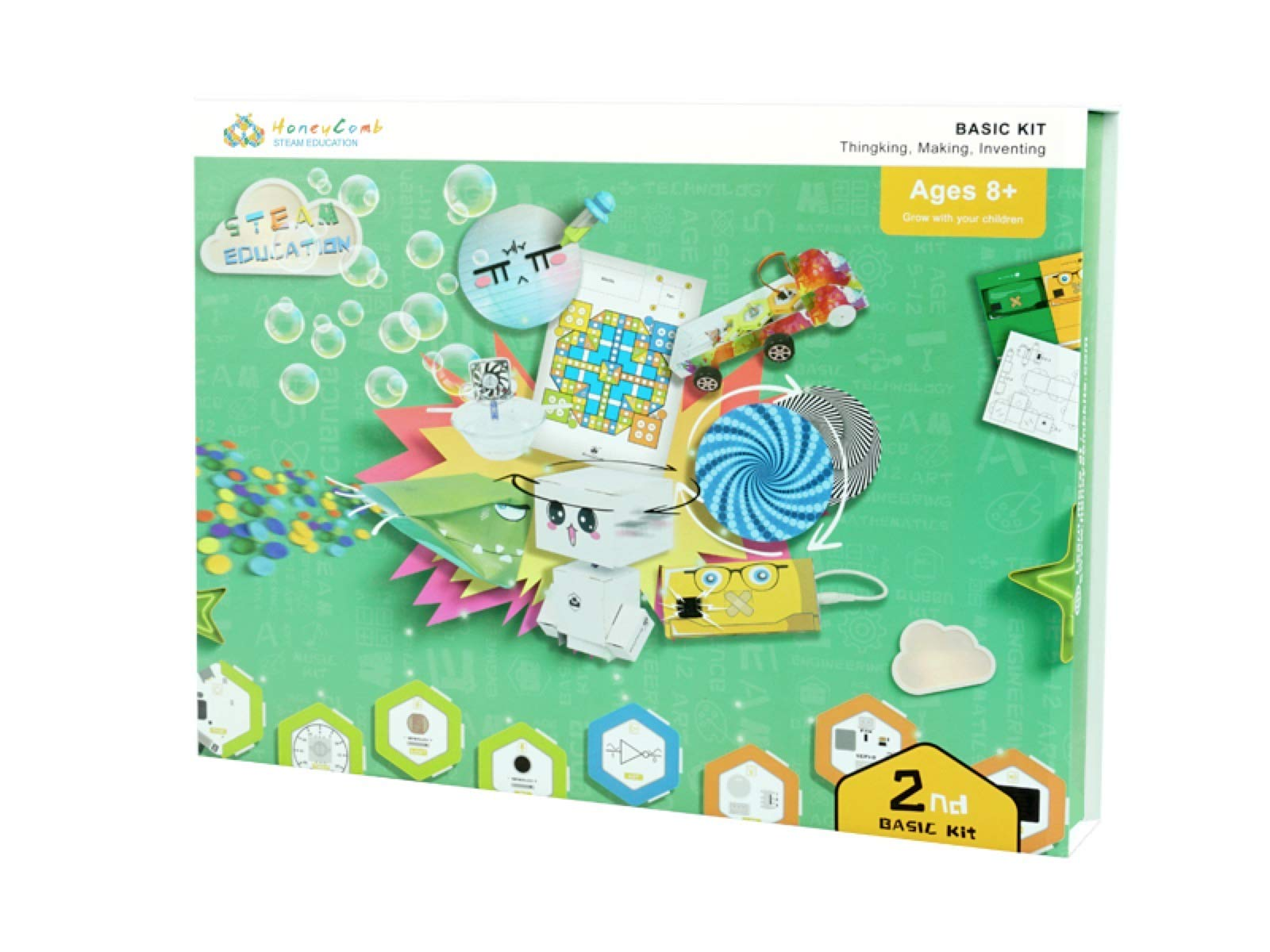 HoneyComb Basic Kit | Over 100 STEM Projects | Programming Coding Logic | Snap magnetic connection | Age 8 and up | Unlimited Fun | No Experience Needed| A Great STEM Toy for Both Boys and Girls!