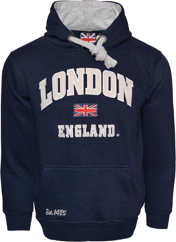 LE129NG Unisex London England Hoodie Hooded Sweatshirt Navy Grey XS-2XL