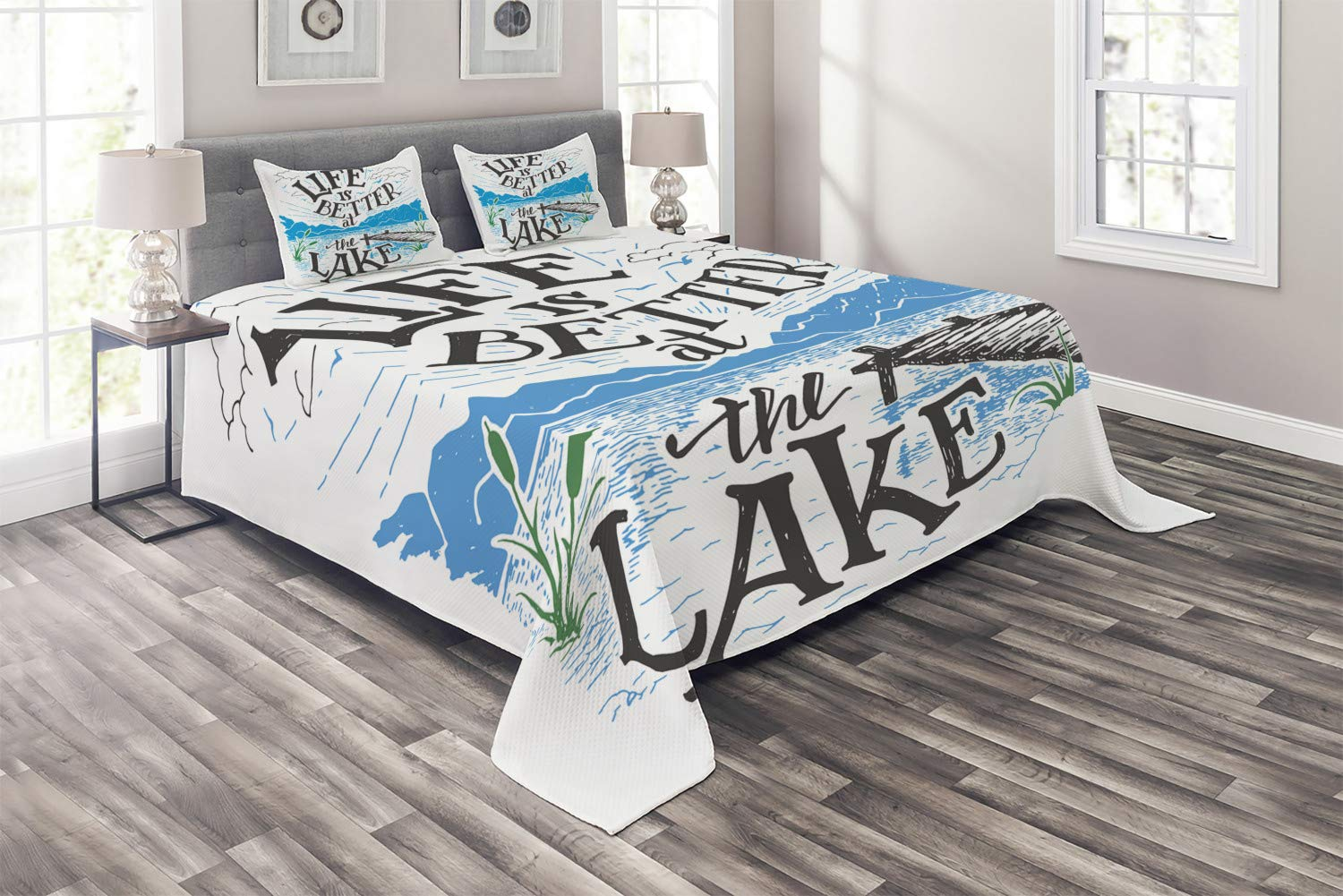 Lunarable Cabin Coverlet Set Queen Size, Life is Better at the Lake Wooden Pier Plants Mountains Sketch Art