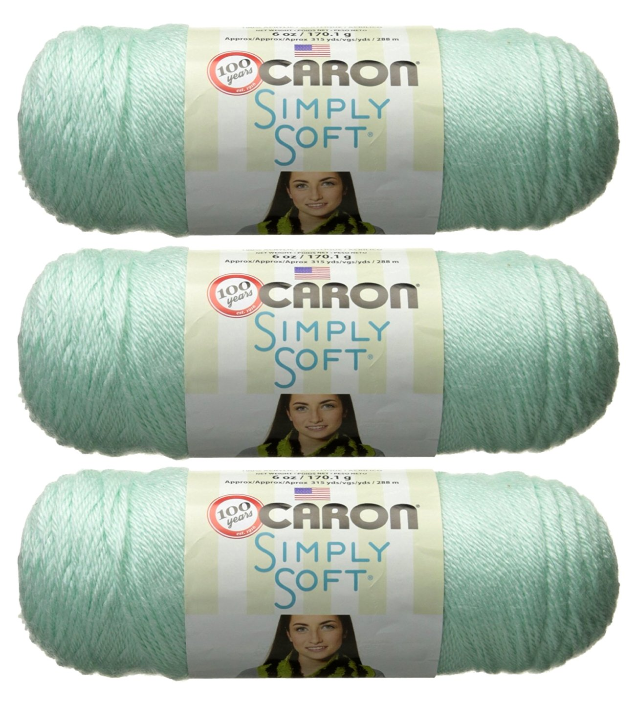Bulk Buy: Caron Simply Soft Yarn Solids (3-Pack) Soft Green H97003-9739 by Caron Bulk Buy (Image #1)