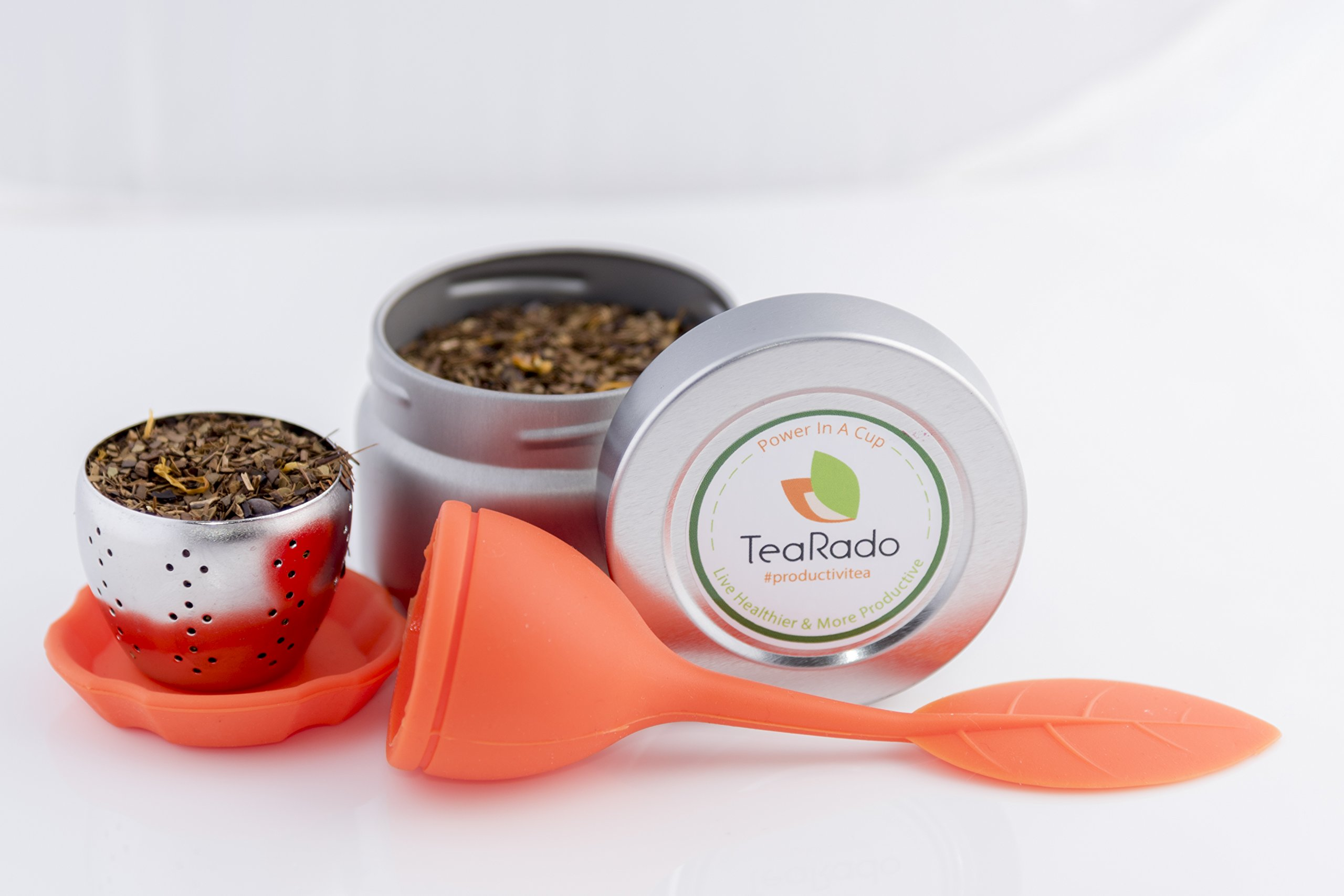 Loose Leaf Tea Travel Set | Organically Sourced Brazilian Yerba Mate | Stainless Steel Infuser & Drip Pad | Packaged in Reusable Airtight Tins, Carry Anywhere and Brew (Brazilian Mate, Orange)