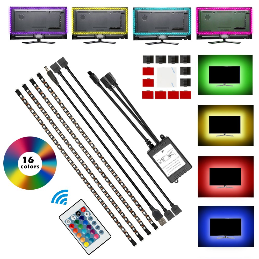 Electop TV Backlight LED Strips Lights Kit with Remote Control, USB Powered Multi Colors Bias Lighting for TV PC Desktop