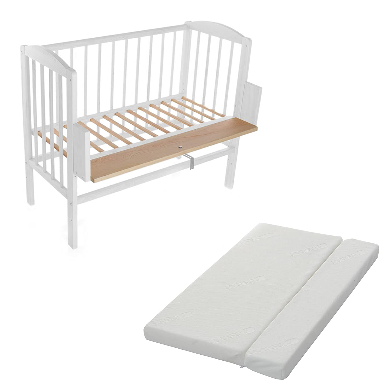 Beistellbett, Kinderbett, Gitterbett, Babybett, Babyblume MARIA 90x40cm, weiss inklusive Matratze Comfort