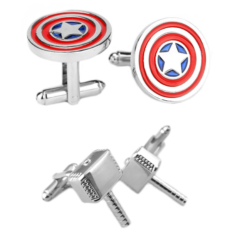 Outlander Gear Marvel Comics 2 Pairs Captain America & Thor Hammer Silver 2018 Movie Logos - Wedding Groom Groomsmen Mens Boys Cufflinks