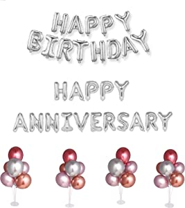 Balloons Stand | 4 Sets of Balloons Stand Kit with Balloons | 4 Balloons Stands | Reusable Balloons | Table balloon stand | Anniversary Decorations | Birthday Decorations (Pink/Silver/Salmon)