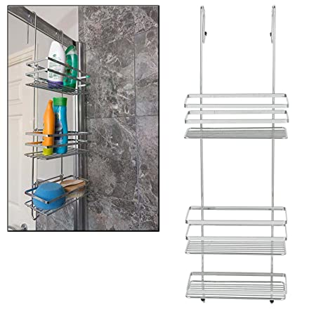 Taylor U0026 Brown® 3 Tier Chrome Over Door Hanging Kitchen Bathroom Storage  Rack Shelves