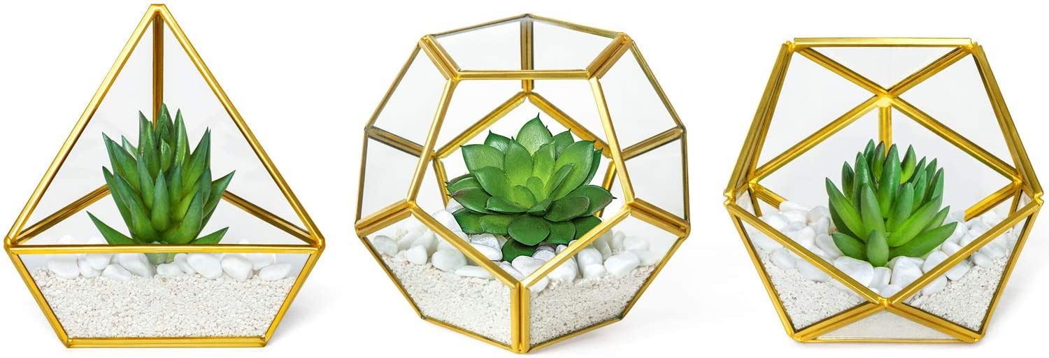 Mkono Office Decor for Desk, 3 Pack Mini Glass Geometric Terrarium with Artificial Succulent, Miniature Potted Faux Plant Bookshelf Boho Room Decor for Women Girls College Dorm Wedding Gift Idea, Gold