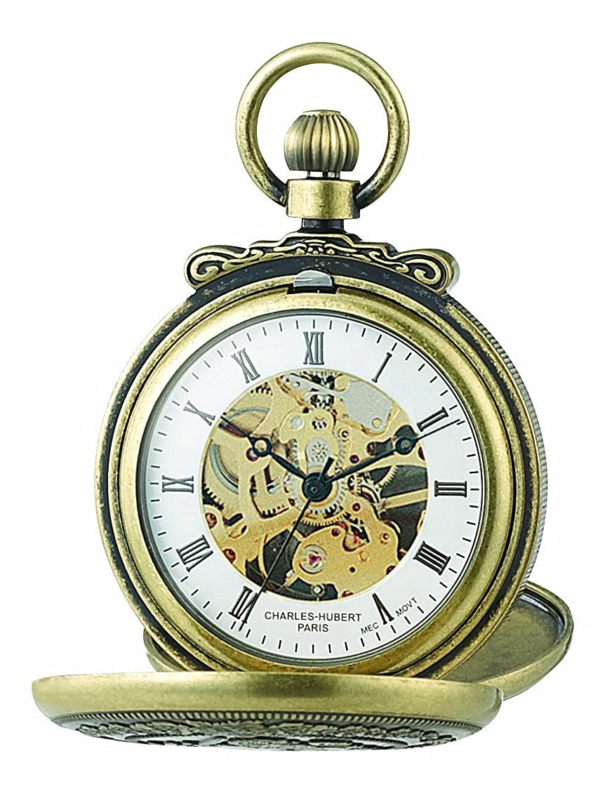 CDM product Charles-Hubert, Paris 3868-G Classic Collection Gold-Plated Antiqued Finish Double Hunter Case Mechanical Pocket Watch big image