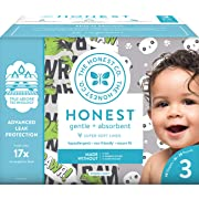 The Honest Company Club Box - Size 3 - Pandas & T-Rex Print with TrueAbsorb Technology | Plant-Derived Materials | Hypoallergenic | 68 Count