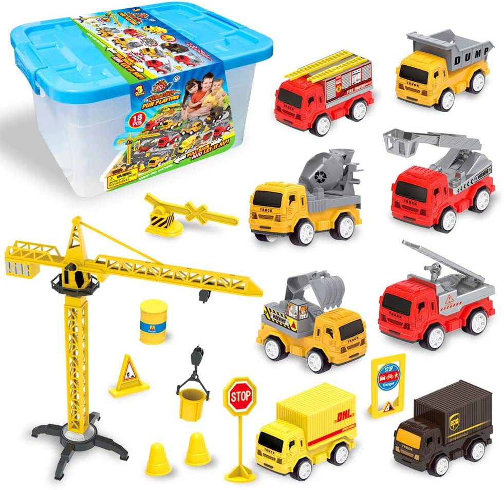 Yellow Including Trucks Excavator Cement Truck Dumper 8pcs Engineering Vehicle Set Toddler Car Toys Set Educational Gift Set For Kids Aged 3 4 5 Ucradle Construction Vehicles Toys