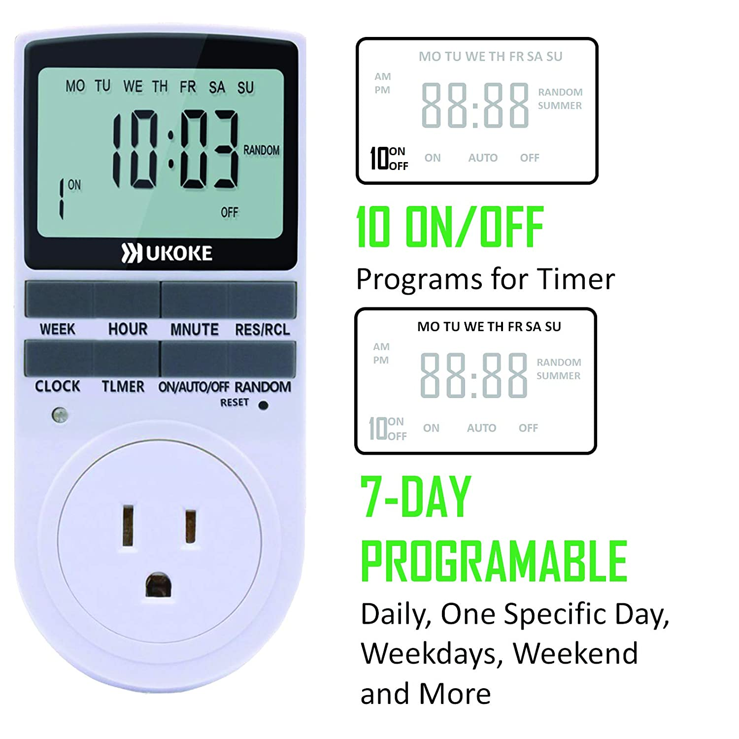White 1 Pack Digital Light Wall Switch Plug-in Timer for Electrical Outlet UKOKE UTM01WFBA UTM01W Appliance 7 Day Weekly Programmable Outlet
