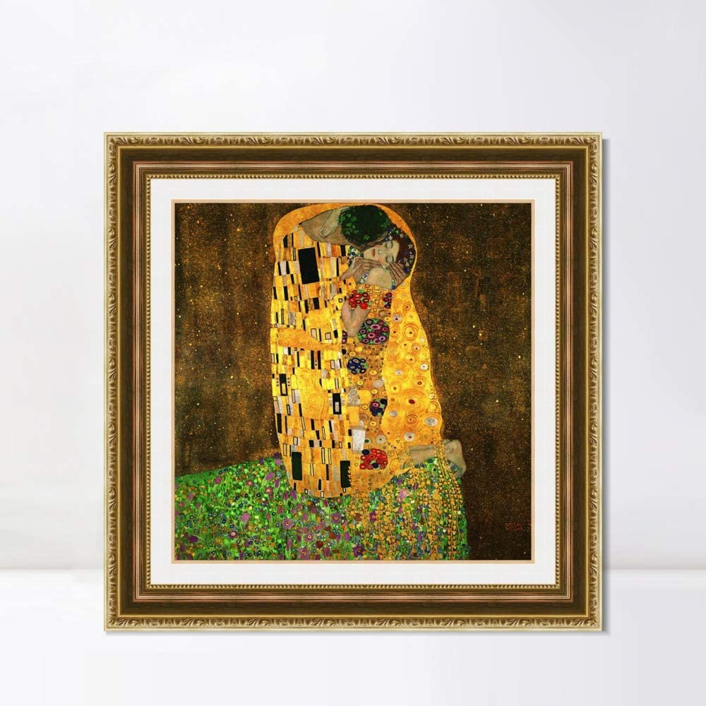 INVIN ART Framed Canvas Art Giclee Print The Kiss by Gustav Klimt Wall Art Living Room Home Office Decorations(Embossed Gold Frame with Liner,32