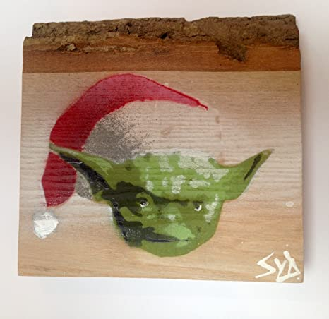 Star Wars Yoda festivo Micro de la plantilla Spraypainted pintado en ceniza firmada por Syd