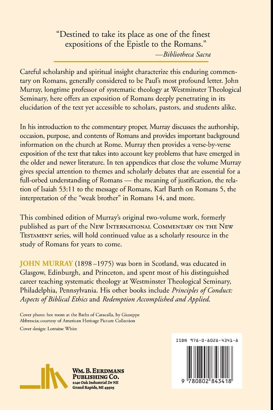 Epistle to the romans new testament commentary john murray epistle to the romans new testament commentary john murray 9780802843418 amazon books sciox Gallery