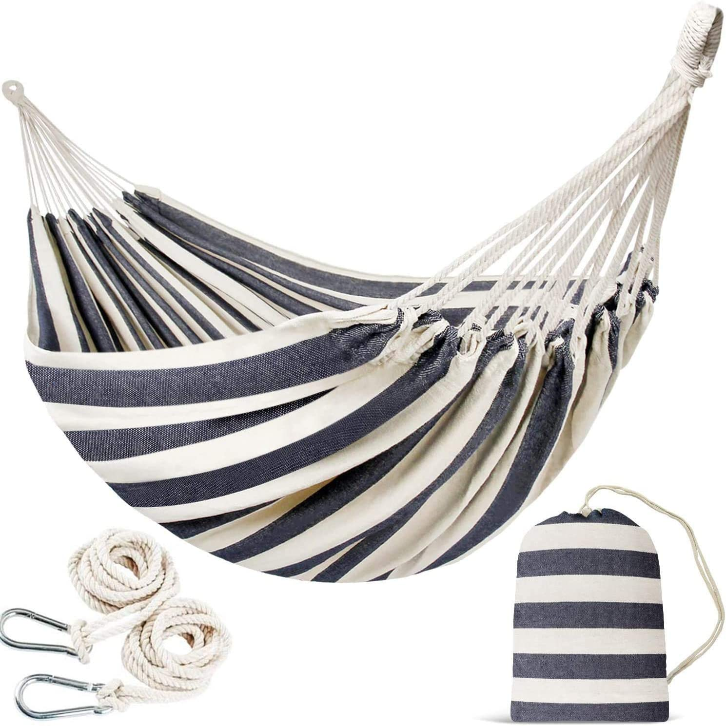 INNO STAGE Double Portable Hammock - Patio Hammock Two Person Hanging Camping Bed for Patio, Backyard, Porch, Outdoor and Indoor Use - Soft Woven Cotton Fabric Hammocks with Portable Carrying Bag