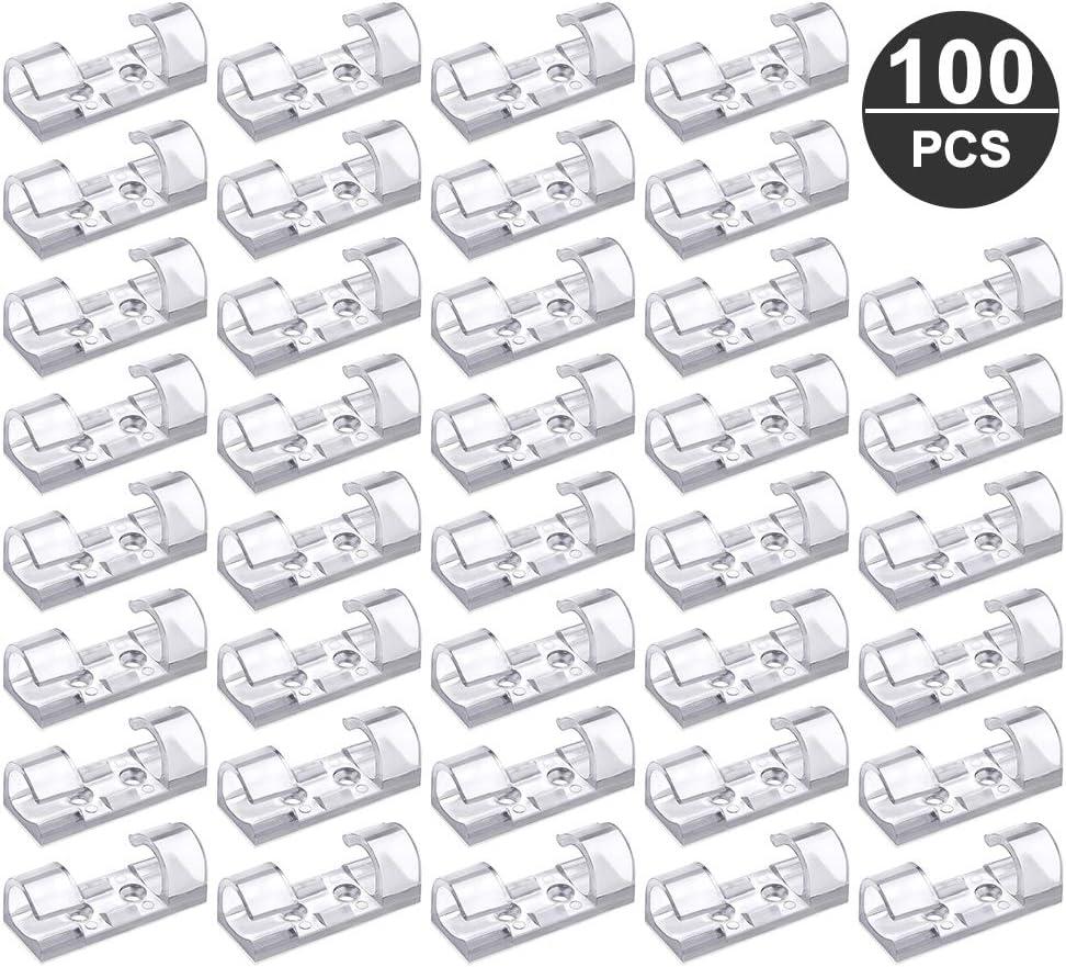 hochviskose Kabelclips Set Kleber keine Spur Transparent Kabelhalter IWILCS Kabelclips 100 St/ück Kabelklemme selbstklebend Kabelf/ührung f/ür Ladekabel Wand Schreibisch Kabelhalter mit Unterlage