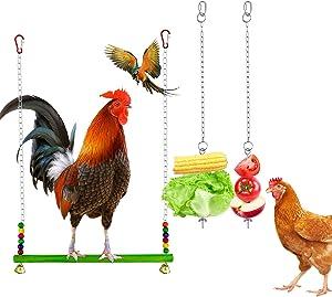Yotako 2 Pack Bird Food Holder, Foraging Toy Parrot Fruit Vegetable Stick Holder Chicken Veggies Skewer Fruit Hanging Feeder with 1 Pieces Chicken Swing Toys for Cockatiels Birds Pet