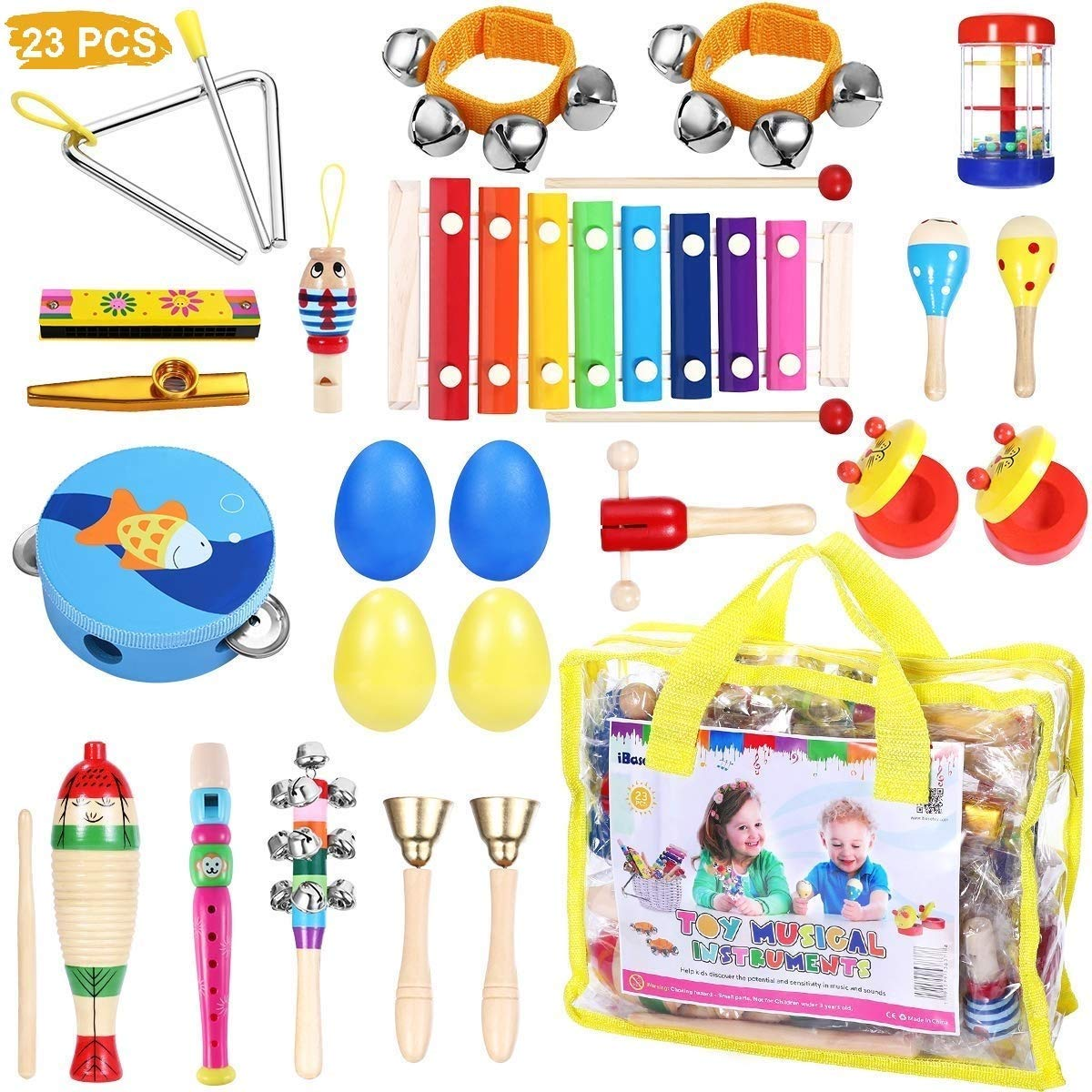 Toddler Musical Instruments - iBaseToy 23Pcs 16Types Wooden Percussion Instruments Tambourine Xylophone Toys for Kids Preschool Education, Early Learning Musical Toys for Boys Girls with Storage bag by iBaseToy
