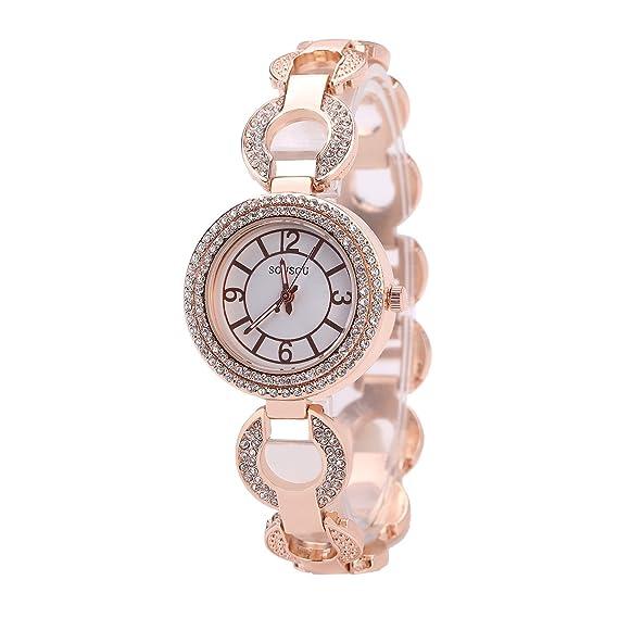 Sloggi la moda mujer brazalete Cuff pulsera analógico reloj para regalo para adolescente reloj de acero inoxidable: Amazon.es: Relojes