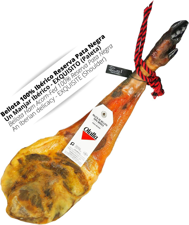 Paleta Jamon de Bellota 100% Iberica Reserva Pata Negra - Jamon Iberico Pata Negra Certificado - Embutidos Ibericos de Bellota - Pieza Completa (5 - ...