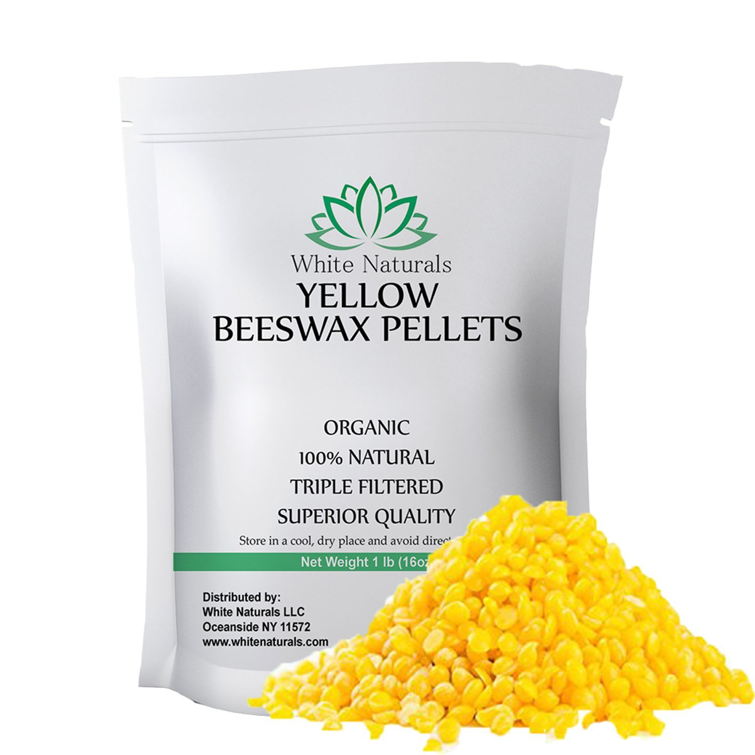 Organic Yellow Beeswax Pellets 1 lb , Pure, Natural, Cosmetic Grade, Bees Wax Pastilles, Triple Filtered, Great For DIY Projects, Lip Balms, Lotions, Candles By White Naturals