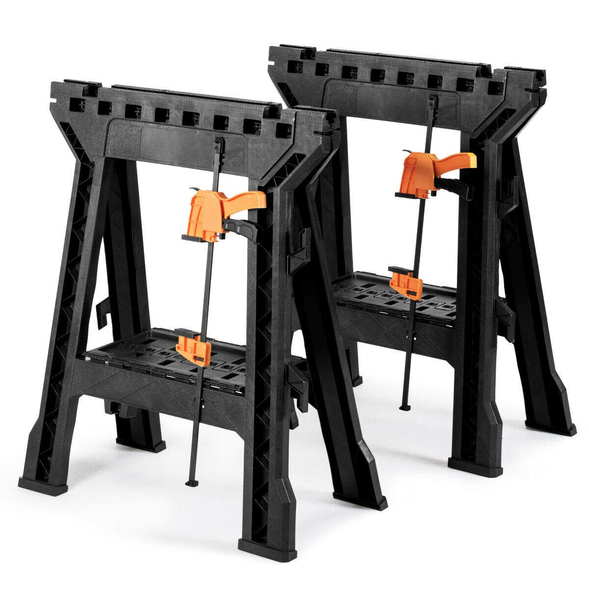 2 Pack Folding Sawhorse with Bar Clamps by AchieveUSA