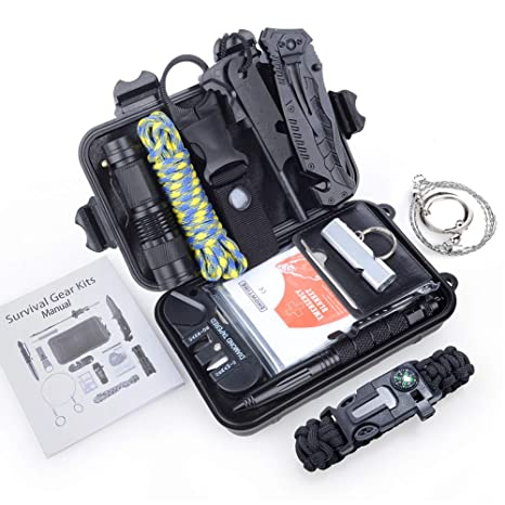 ec303ca599b80 TIME4DEALS Emergency Survival Kits 14 in 1, Outdoor Survival Gear Tool with  Flashlight, Paracord Bracelet, Fire Starter, Whistle, Tactical Pen, ...