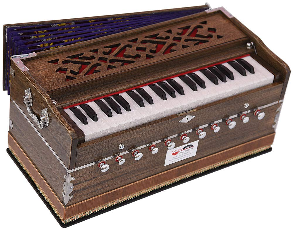 Harmonium Pro Grade By Kaayna Musicals, 11 Stop- 6 Main & 5 Drone, 3½ Octaves, Rat Colour, Flower Bellow, Coupler, Gig Bag - 440 Hz. Best for Yoga, Bhajan, Kirtan, Shruti, Mantra, Meditation, Chant by Kaayna Musicals