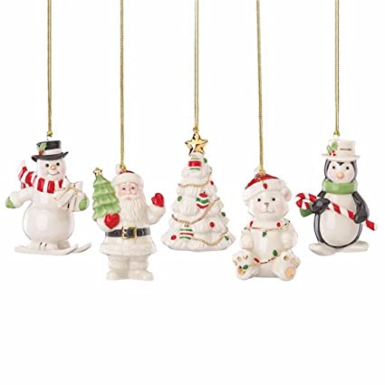 lenox very merry christmas ornament set 5 pc snowman penguin santa tree bear - Lenox Christmas Decorations
