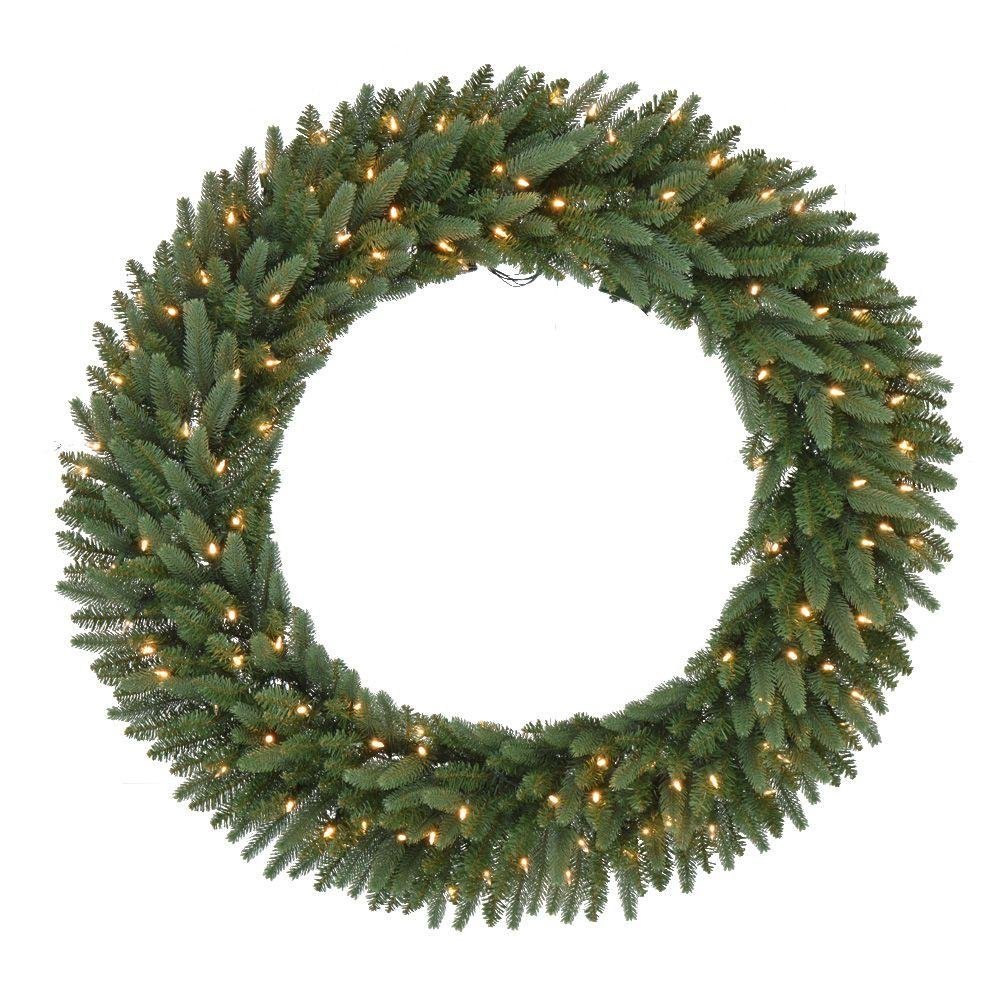 48 in. Pre-Lit B/O LED New Meadow Artificial Christmas Wreath x 520 Tips with 120 Warm White LED Lights and Timer (1)