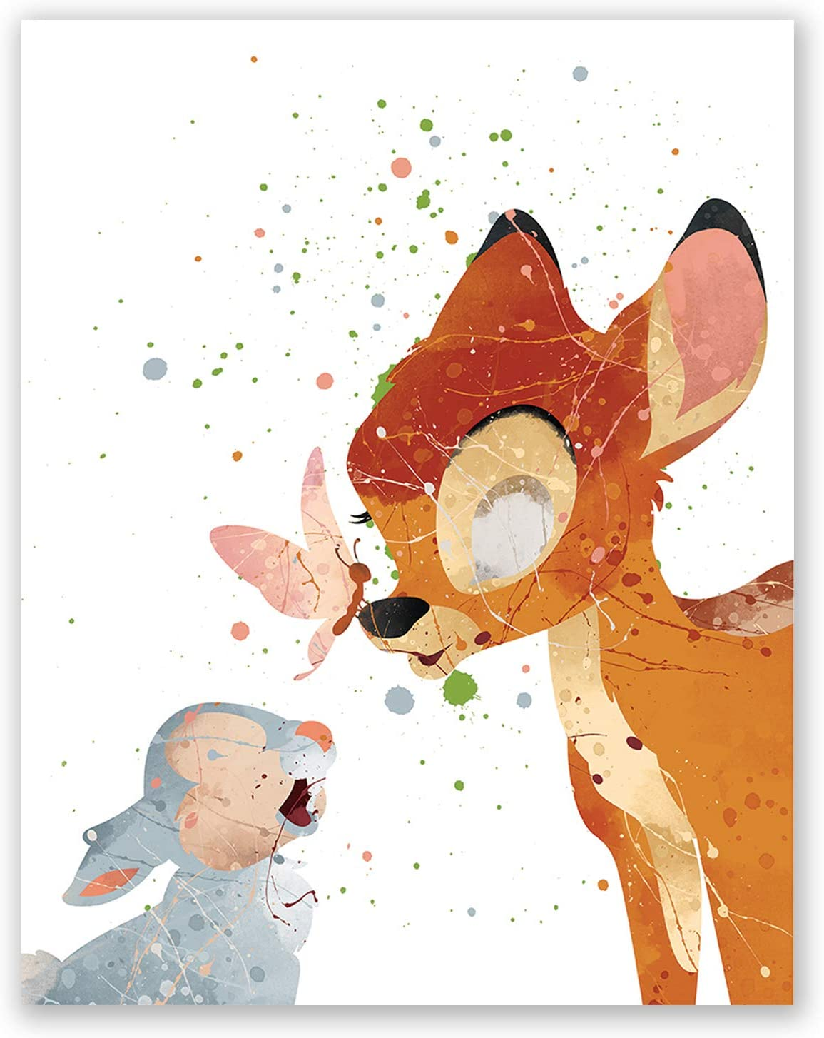 Bambi /& Thumper Print Poster Watercolour Framed Canvas Wall Art disney gift