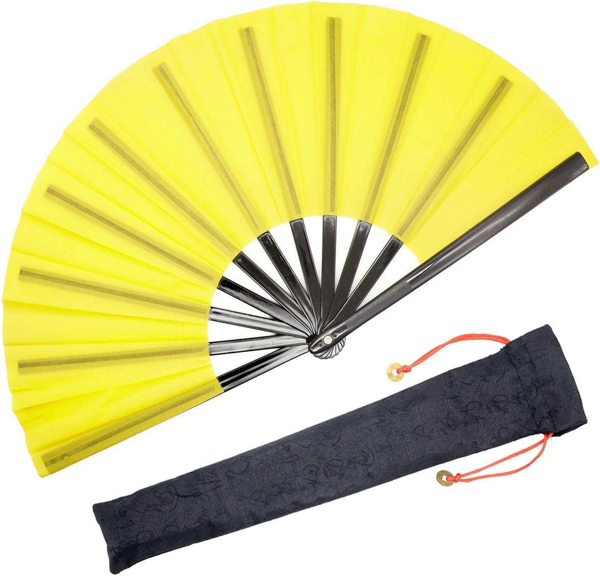 Chinese//Japanese Kung Fu T... OMyTea Large Rave Folding Hand Fan for Men//Women