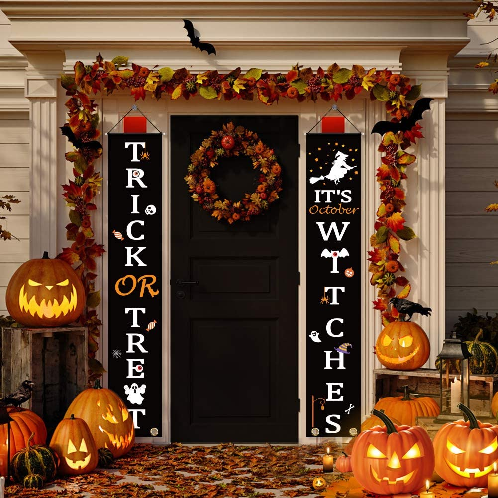 2 Pieces Halloween Trick or Treat Banner WELCOME IT'S October WITCHES Halloween Decorations Outdoor Large Banners Porch Signs Halloween Hanging Banners Banner Party Supplies for Halloween Welcome Sign