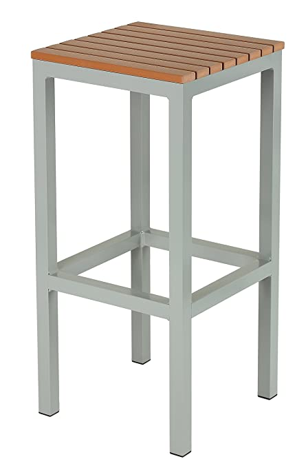 Amazoncom Lola Aluminum Outdoor Backless Barstool In Poly Wood - Teak and aluminium outdoor table