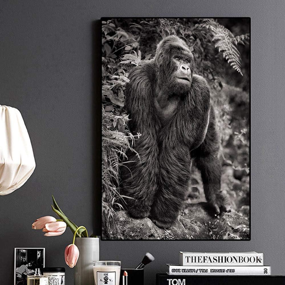 SADHAF Cartel de lienzo de gorila en blanco y negro y pintura escandinava de animales salvajes póster pared salón arte A4 60x80 cm