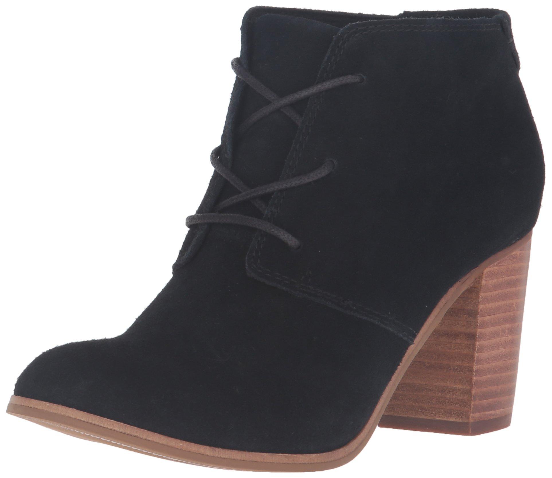 TOMS Women's Lunata Lace-Up Bootie Black Suede Boot 5.5 B (M)