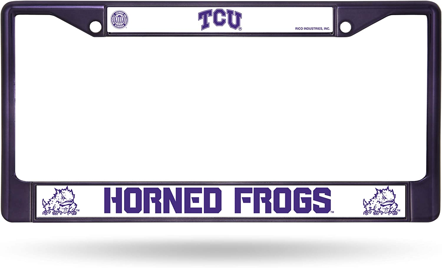 NCAA Rico Industries  Standard Chrome License Plate Frame TCU Horned Frogs