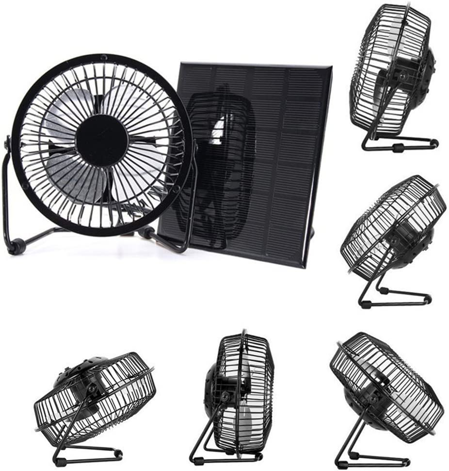 USB Panel Solar El/éctrico Ventilador Refrigeraci/ón Ventilaci/ón Ventilador para Hogar Oficina Exterior Viaje Coche Sistema de Ventilaci/ón Mini Port/átil Ventilador 3W 6V
