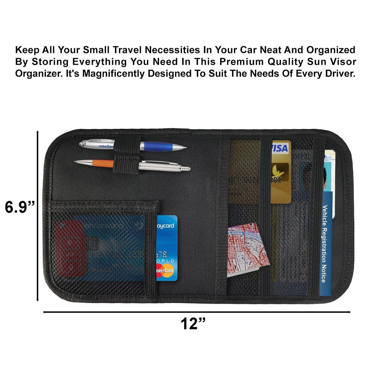 46e659be23c1 Lebogner Car Sun Visor Organizer, Auto Interior Accessories Pocket ...