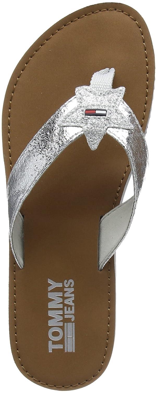 Hilfiger Denim Damen Glitter Beach Sandal Zehentrenner  40 EU|Silber (Silver 000)