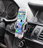 Phone Holder, Quntis® Universal Air Vent Car Phone Holder, Fully Adjustable and Securely Car Mount Holder Mobile Phone Holder Car Cradle One Step Mounting for iPhone 7 Plus 7 6s Plus 6s 6 Plus 6 5s 5c 5, Samsung Galaxy S7 S7 Edge S6 S6 Edge, Note 3 4 5 and More Smart Phones