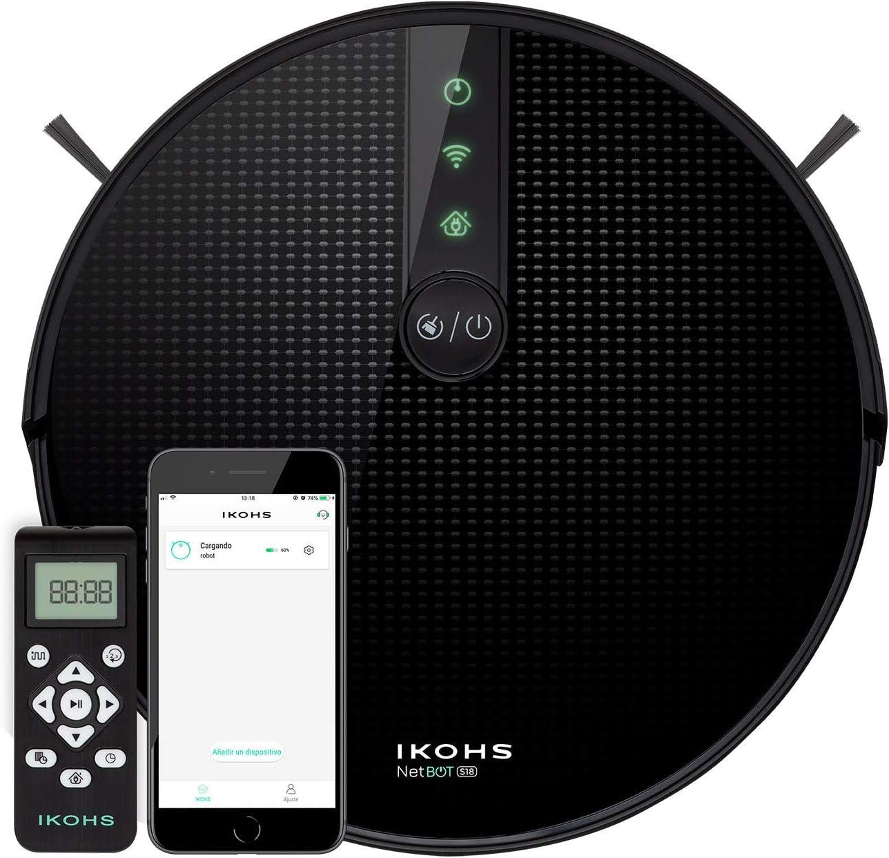 IKOHS NETBOT S18 - Robot Aspirador 4 en 1, con Mapeo y App, Potencia de Succión 1800 Pa, Navegación Inteligente, Sensores Anticolisión y Anticaídas, Compatible Alexa, Google Home, WiFi, 220-240 V: Amazon.es: Hogar