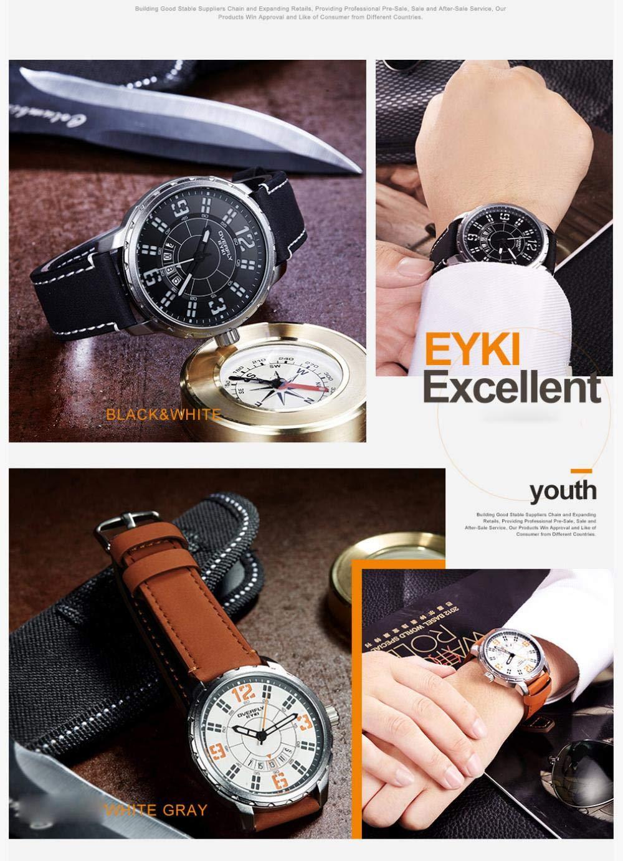 Herrklockor, trendigt mode vardaglig enkel vattentät klocka Silver Shell Khaki Belt